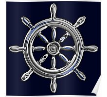 Chrome Style Nautical Wheel Applique Poster