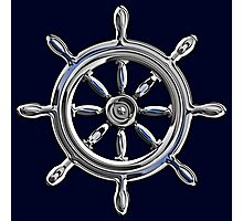 Chrome Style Nautical Wheel Applique Photographic Print
