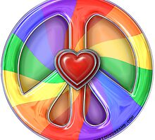 Rainbow Peace Hearts by Roch Herrick