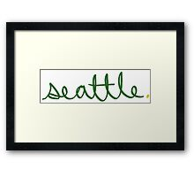 Seattle Supe Cursive - City Scroll Framed Print