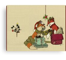 Foxes in Christmas Boxes Canvas Print