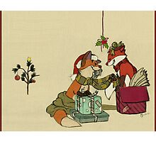 Foxes in Christmas Boxes Photographic Print