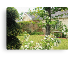 House with Nice Lawn and White Flowers Canvas Print