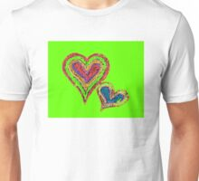 Two vivid color shape hearts close one to each other Unisex T-Shirt