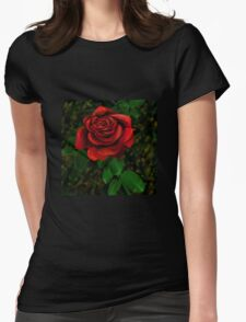 Vector rose Womens Fitted T-Shirt