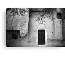Cappadocian Cave Door (Black And White) Canvas Print
