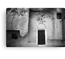 Cappadocian Cave Door (Black And White) Canvas Print