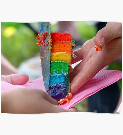 A Sweet Rainbow Treat - Rainbow Owl Cake - NZ Poster