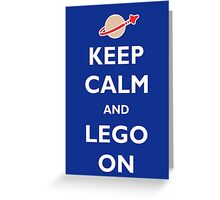 Keep Calm and Lego On Greeting Card