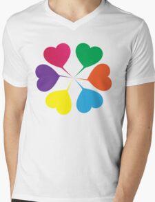 (Girls) Heart Flower Mens V-Neck T-Shirt
