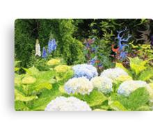 Garden with White Lavender Hydrangeas and Bluebells Canvas Print