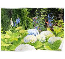 Garden with White Lavender Hydrangeas and Bluebells Poster