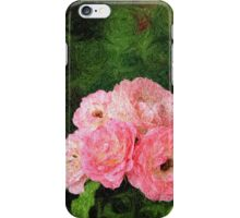 Pretty Pink Painterly Roses with Green Background iPhone Case/Skin