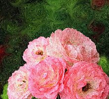 Pretty Pink Painterly Roses with Green Background by Beverly Claire Kaiya