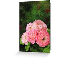 Pretty Pink Painterly Roses with Green Background Greeting Card
