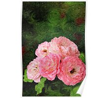 Pretty Pink Painterly Roses with Green Background Poster