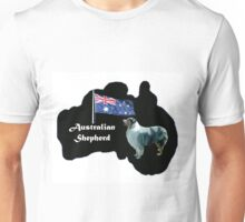 Australian shepherd with map of Australia Unisex T-Shirt