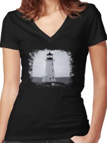 Peggy's Cove Lighthouse Tee Women's Fitted V-Neck T-Shirt