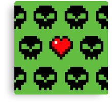 Pixel Skull Zombie Love for Computer Gamers Canvas Print