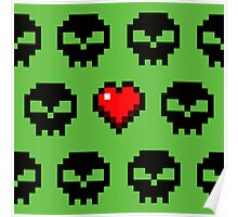 Pixel Skull Zombie Love for Computer Gamers Poster