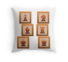 Chess - Brown borders columns Throw Pillow