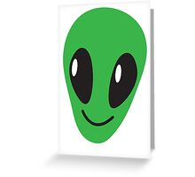 Alien green man face smiling Greeting Card