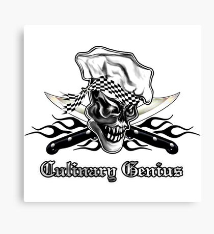 Chef Skull 5: Culinary Genius 3 black flames Canvas Print