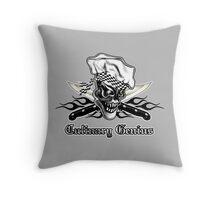Chef Skull 5: Culinary Genius 3 black flames Throw Pillow