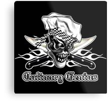 Chef Skull 5: Culinary Genius 3 white flames Metal Print
