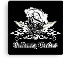 Chef Skull 5: Culinary Genius 3 white flames Canvas Print
