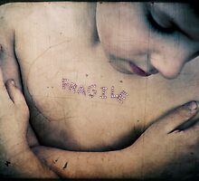 Fragile: ORIGIN late 15th cent.(in the sense [morally weak] ): from Latin fragilis, from frangere 'to break.' by flawedemmy