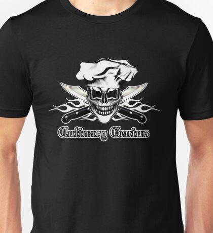 Chef Skull 6: Culinary Genius 3 white flames Unisex T-Shirt
