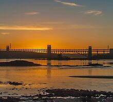 Sunset Brittania Bridge & the Swellies by Alec Owen-Evans
