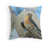 Happy Birthday Bluebird Throw Pillow