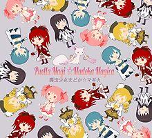 Madoka Magica Kyubey and logo by Aiysle