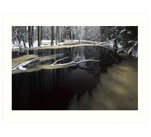 Winter landscape with river Art Print