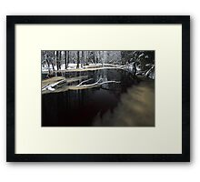 Winter landscape with river Framed Print