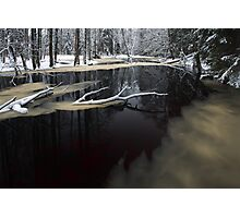 Winter landscape with river Photographic Print
