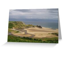 Three Cliffs Bay, The Gower, Low Tide Greeting Card