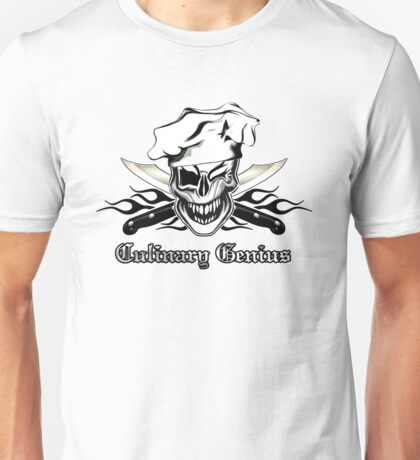 Chef Skull 7: Culinary Genius 3 black flames Unisex T-Shirt