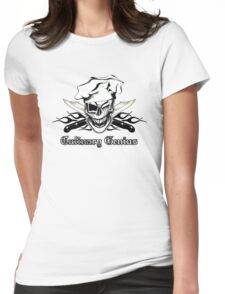 Chef Skull 7: Culinary Genius 3 black flames Womens Fitted T-Shirt