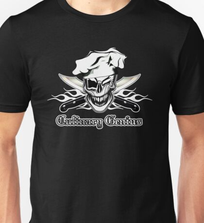 Chef Skull 7: Culinary Genius 3 white flames Unisex T-Shirt