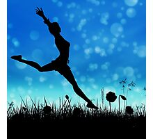 Silhouette of a girl jumping on the meadow Photographic Print