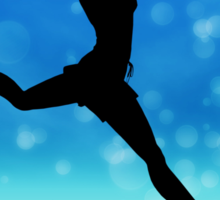 Silhouette of a girl jumping on the meadow Sticker