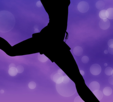 Silhouette of a girl jumping on the meadow 2 Sticker