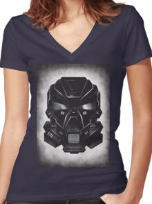 Black Metal Future Fighter on distressed background Women's Fitted V-Neck T-Shirt