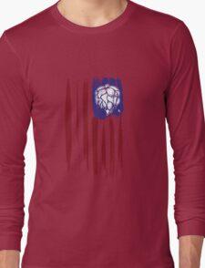 Hops and Stripes U.S. flag grunge style Long Sleeve T-Shirt