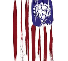 Hops and Stripes U.S. flag grunge style by Neal Wollenberg