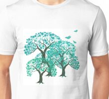 Three decorative trees with birds Unisex T-Shirt