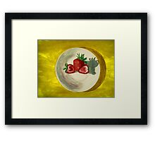 Water color of strawberries Framed Print